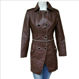 Burgundy two-in-one faux leather trench coat